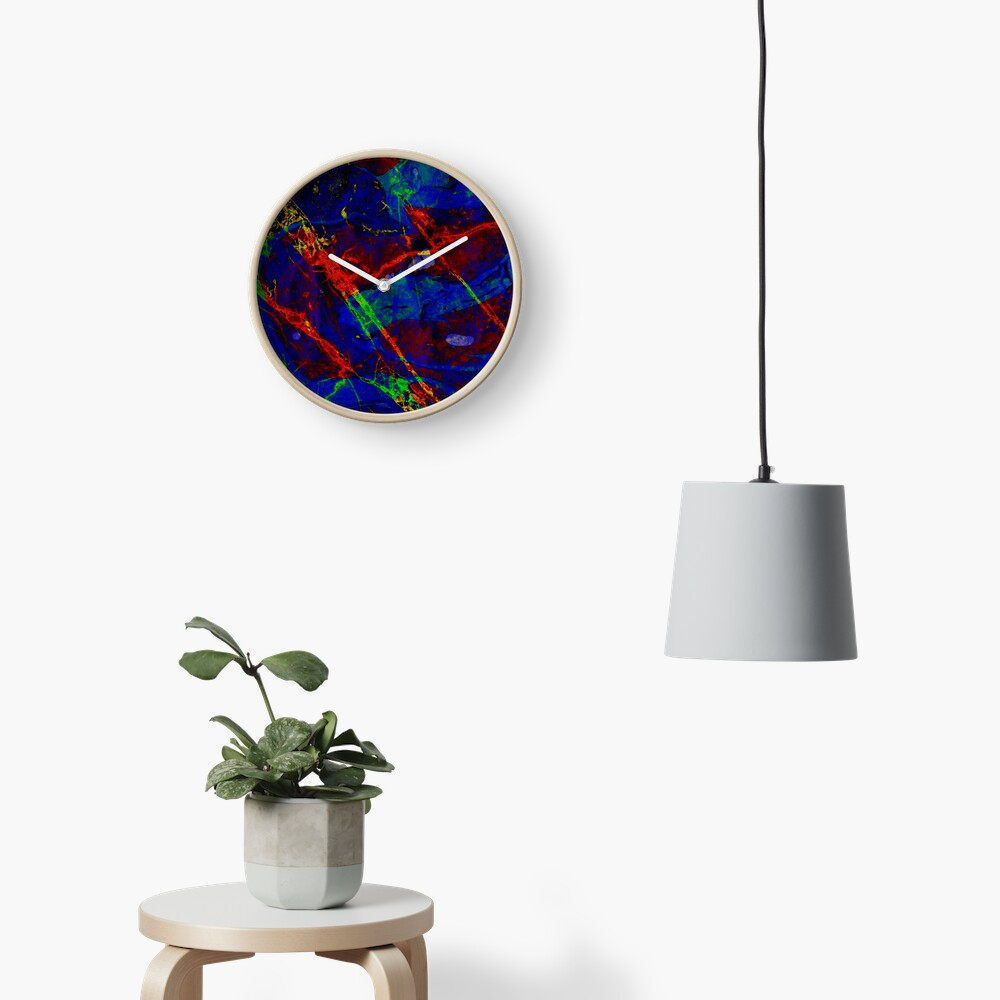 Colorful Red Blue Marble Pattern Clock