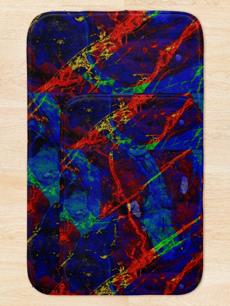 Alternate view of Colorful Red Blue Marble Pattern Bath Mat