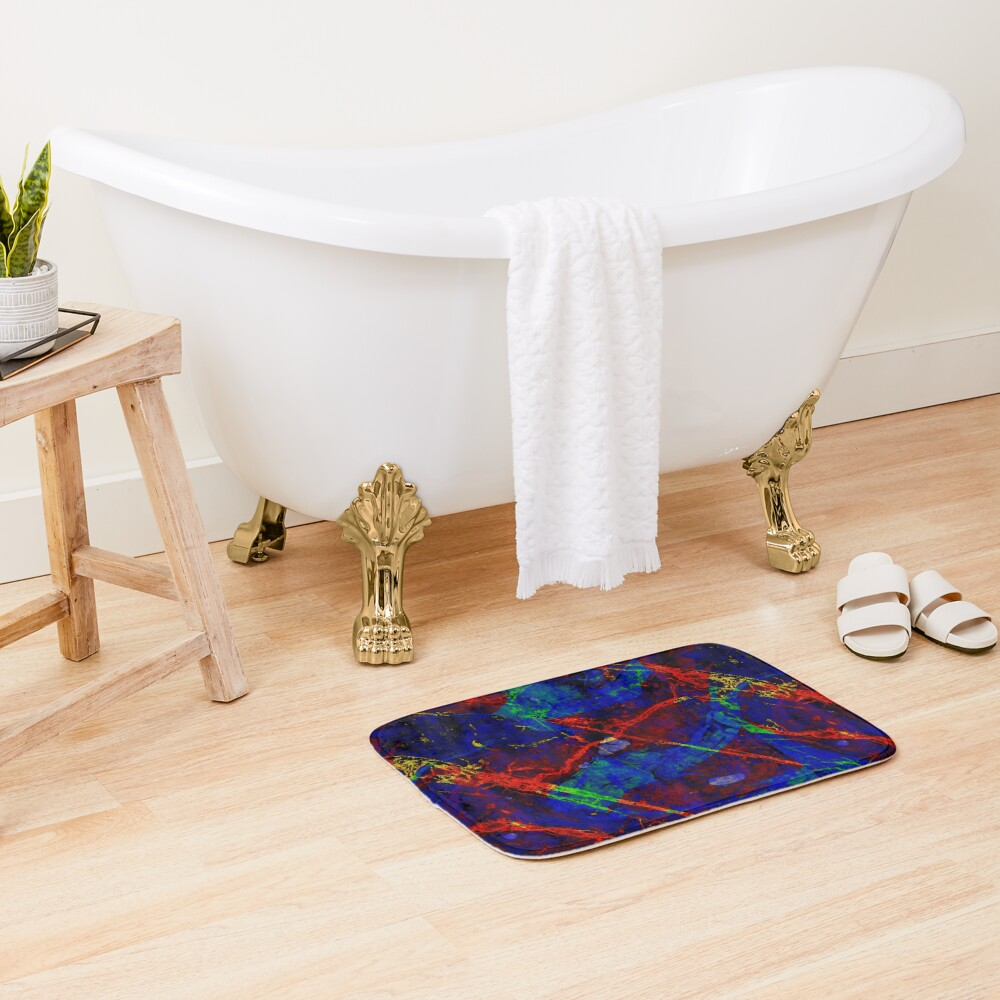 Colorful Red Blue Marble Pattern Bath Mat