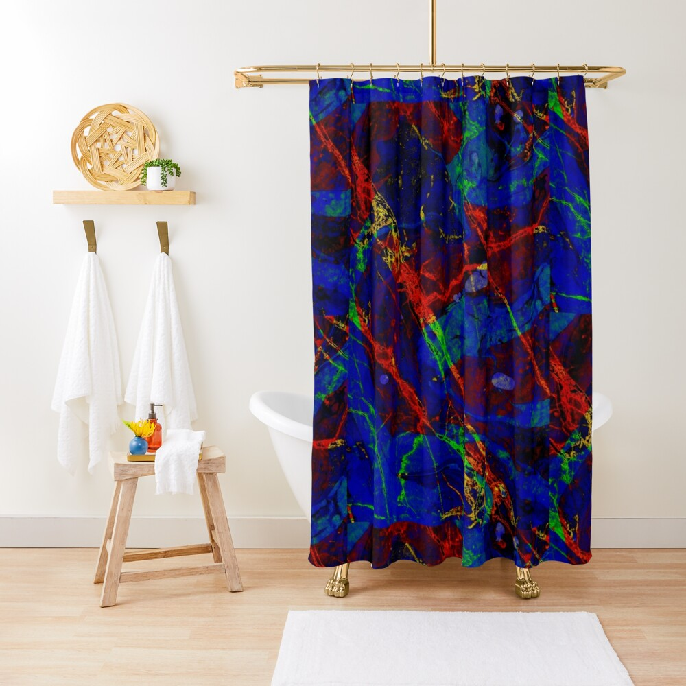 Colorful Red Blue Marble Pattern Shower Curtain