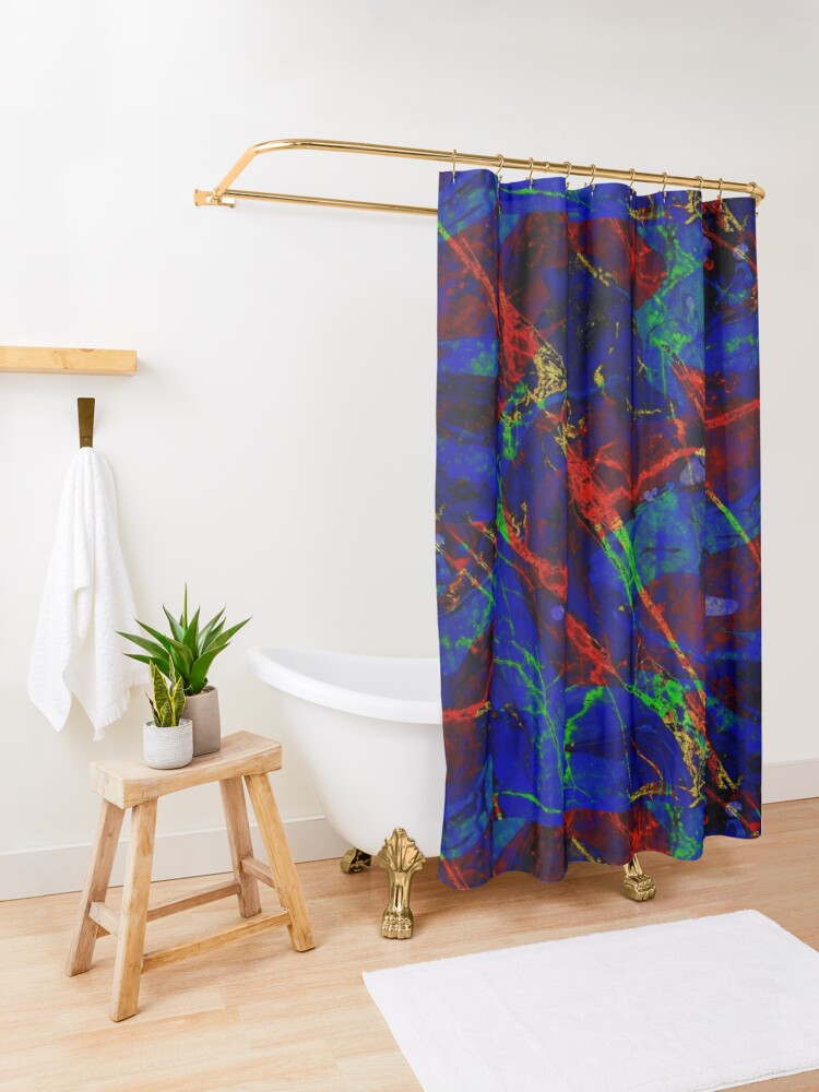 Alternate view of Colorful Red Blue Marble Pattern Shower Curtain