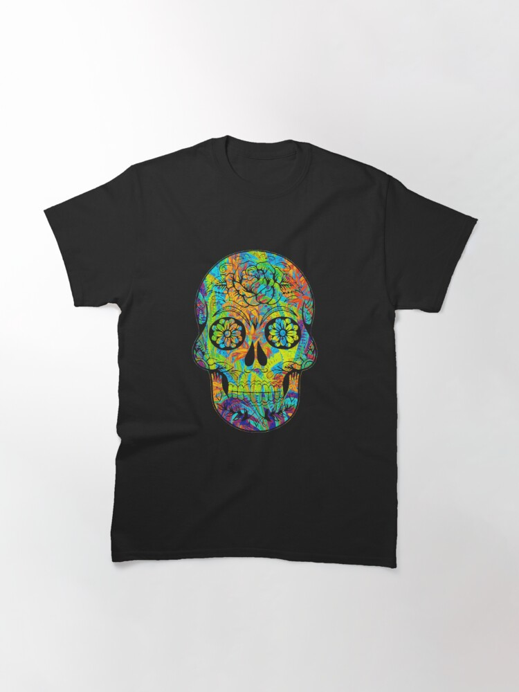 Alternate view of cool floral skull art Classic T-Shirt