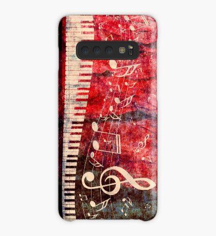 Klaviertastatur mit Musik merkt Grunge 2 Hülle & Klebefolie für Samsung Galaxy