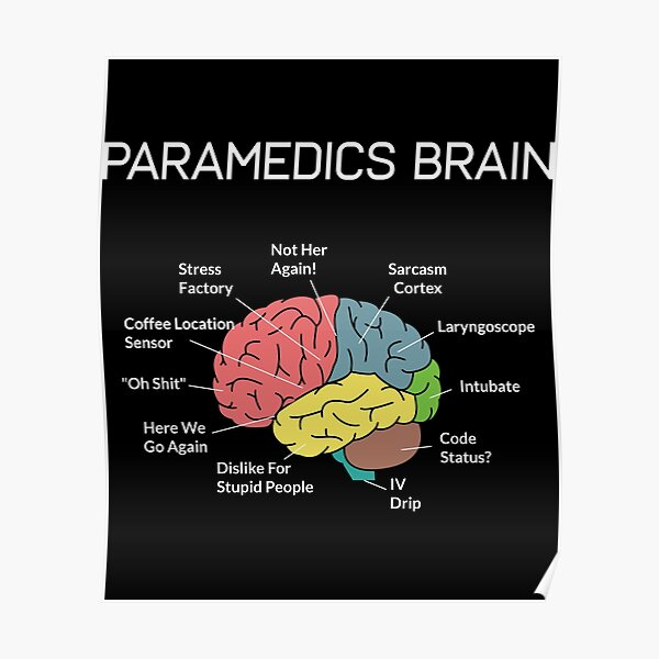Paramedics Brain Funny EMS EMT Paramedic Thin White Line Poster