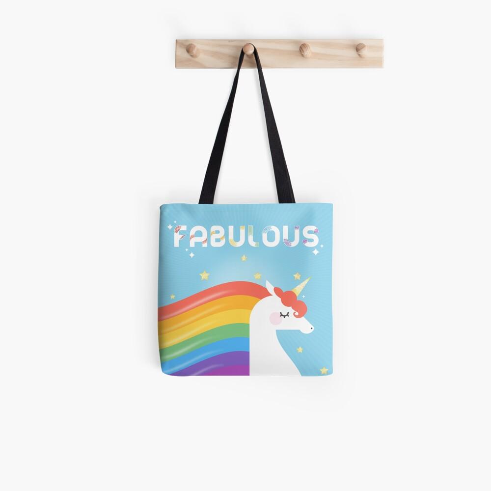 Fabulous Sparkling Rainbow Unicorn Tote Bag