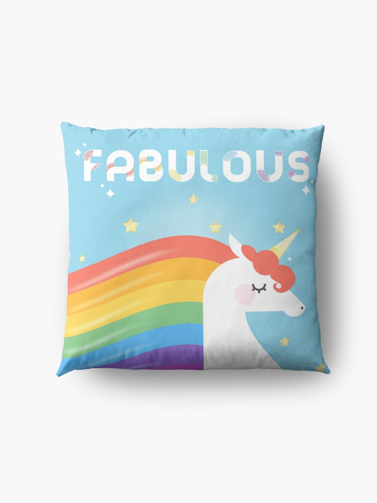 Alternate view of Fabulous Sparkling Rainbow Unicorn Floor Pillow