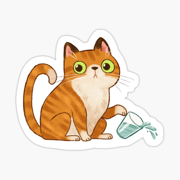 Cat tipping glass  Sticker