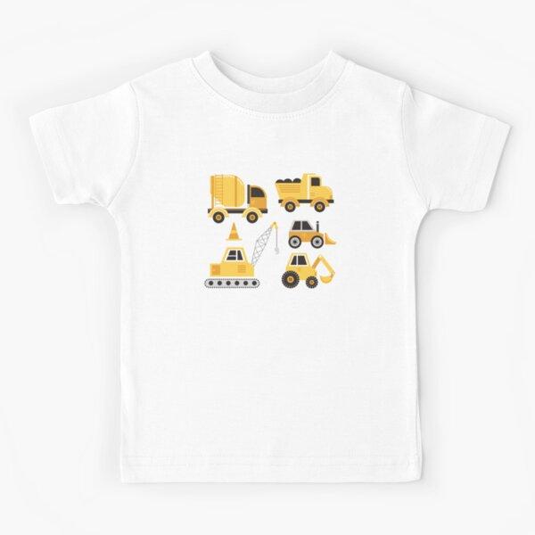 und gelb. Modernes minimalistisches Grafikdesign, um die Form der Lastwagen aufzubauen. Kinder T-Shirt