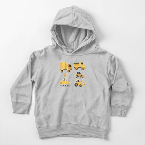 Construction Trucks on Gray Toddler Pullover Hoodie