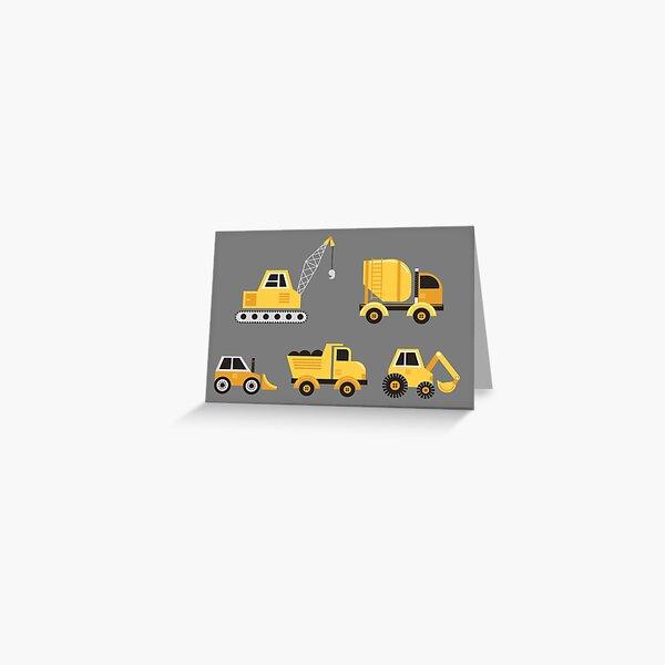 Construction Trucks on Gray Greeting Card