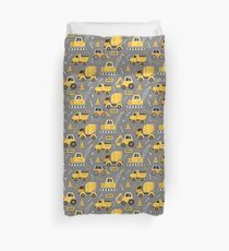 Construction Trucks on Gray Duvet Cover