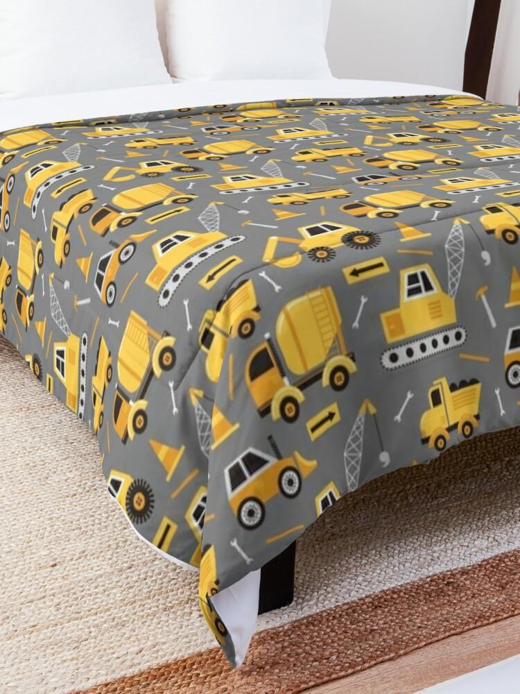 Alternate view of Construction Trucks on Gray Comforter