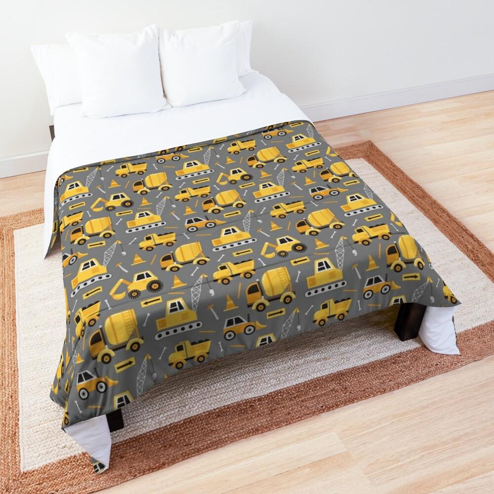 Construction Trucks on Gray Comforter