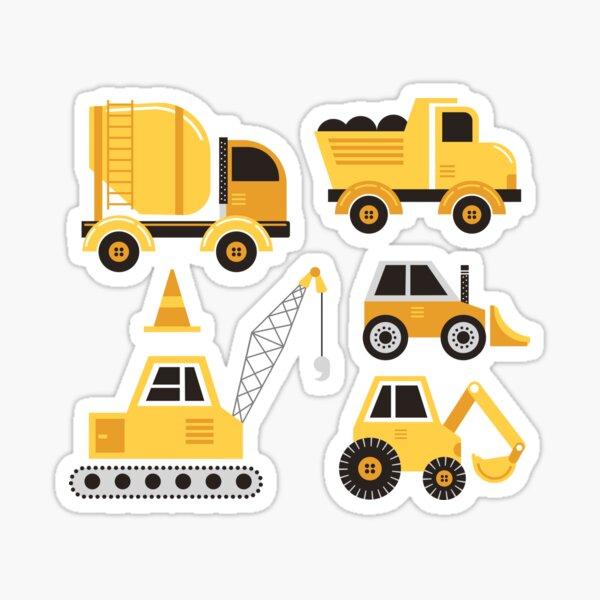 Construction Trucks on Gray Sticker