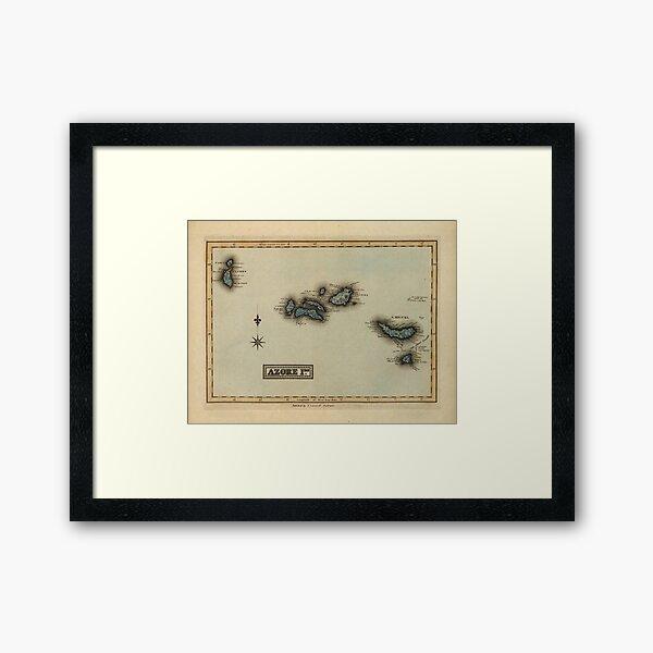 Vintage Azores Islands Map (1823) Framed Art Print