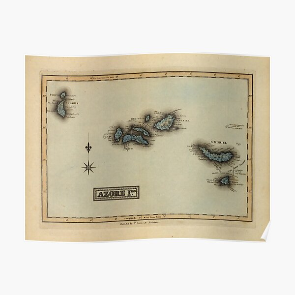 Vintage Azores Islands Map (1823) Poster