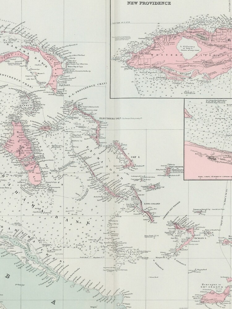 Vintage Map of The Bahamas (1904) by BravuraMedia