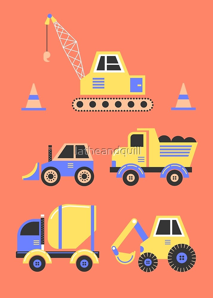 Construction Trucks on Coral by latheandquill