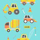 Construction Trucks on Aqua by latheandquill