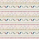 Colorful and playful abstract geometric pattern hearts flowers dots feathers  by DenesAnnaDesign