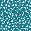 Navy geometric textured pattern of dog cat fox and goose paws by DenesAnnaDesign