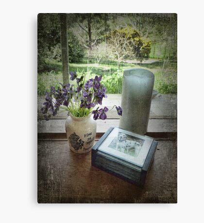 Violets on the Windowsill Canvas Print