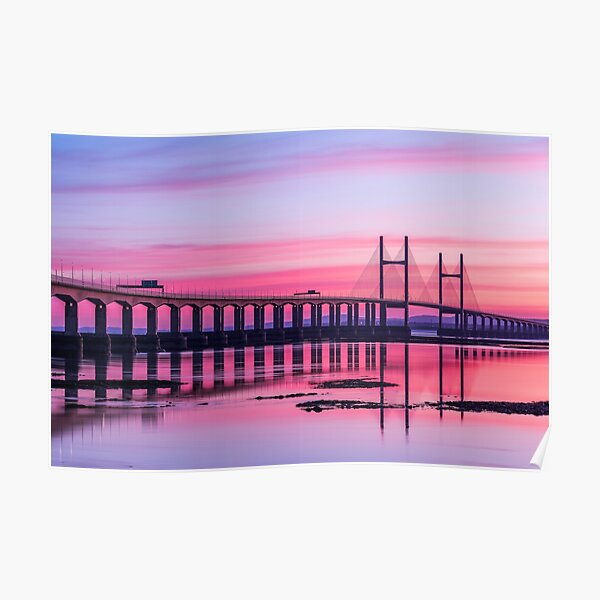 Second Severn Crossing Bridge in front of Sunset Poster