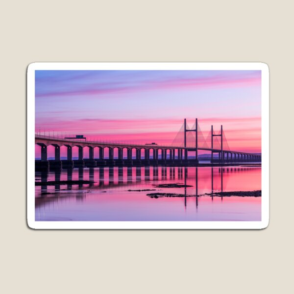 Second Severn Crossing Bridge in front of Sunset Magnet