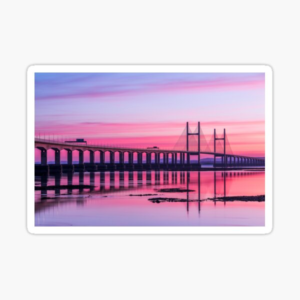 Second Severn Crossing Bridge in front of Sunset Sticker