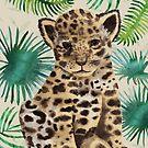 Leopard cub portrait in watercolor vector  by DenesAnnaDesign