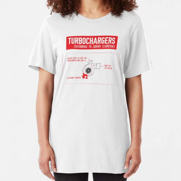 How Turbochargers work: by Jeremy Clarkson (red version) Slim Fit T-Shirt