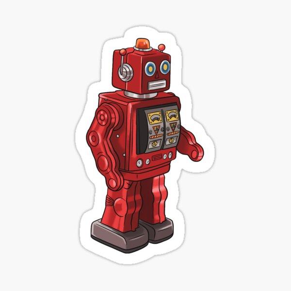 Red Retro Robot Toy, Vintage Toy Sticker Sticker