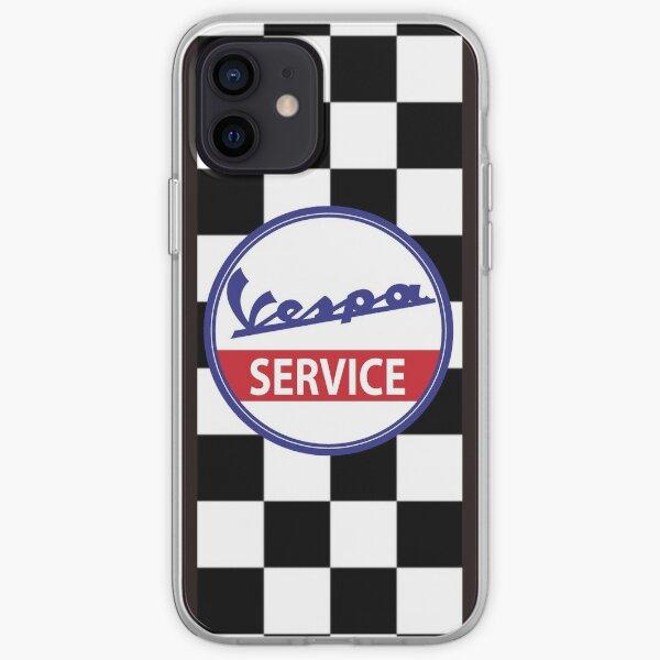 Vespa Service Servizio Scooter Chequered Flag Check iPhone Soft Case