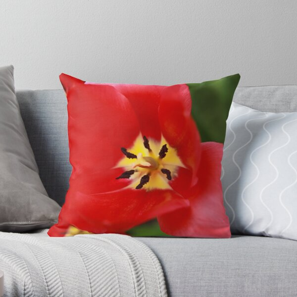 Red Tulip Blossom Throw Pillow