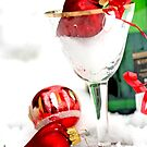 Champagne glass, snow and  champagne bottle with a heart by pogomcl