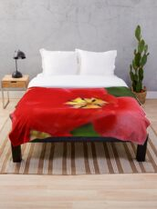 Red Tulip Blossom Throw Blanket