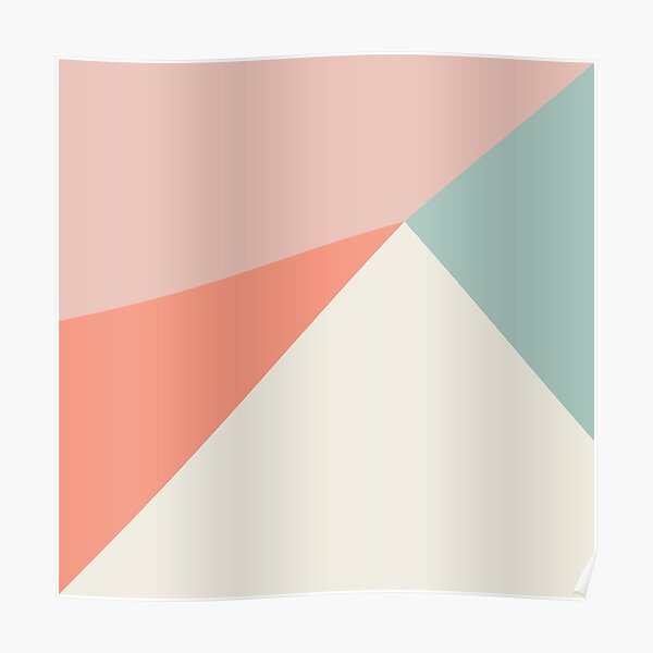 Abstract geometry in pink, coral, mint and cream Poster