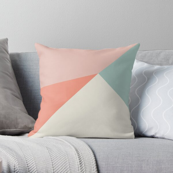 Abstract geometry in pink, coral, mint and cream Throw Pillow