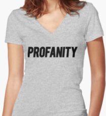 Profanity Shirt | Black Ink Women's Fitted V-Neck T-Shirt