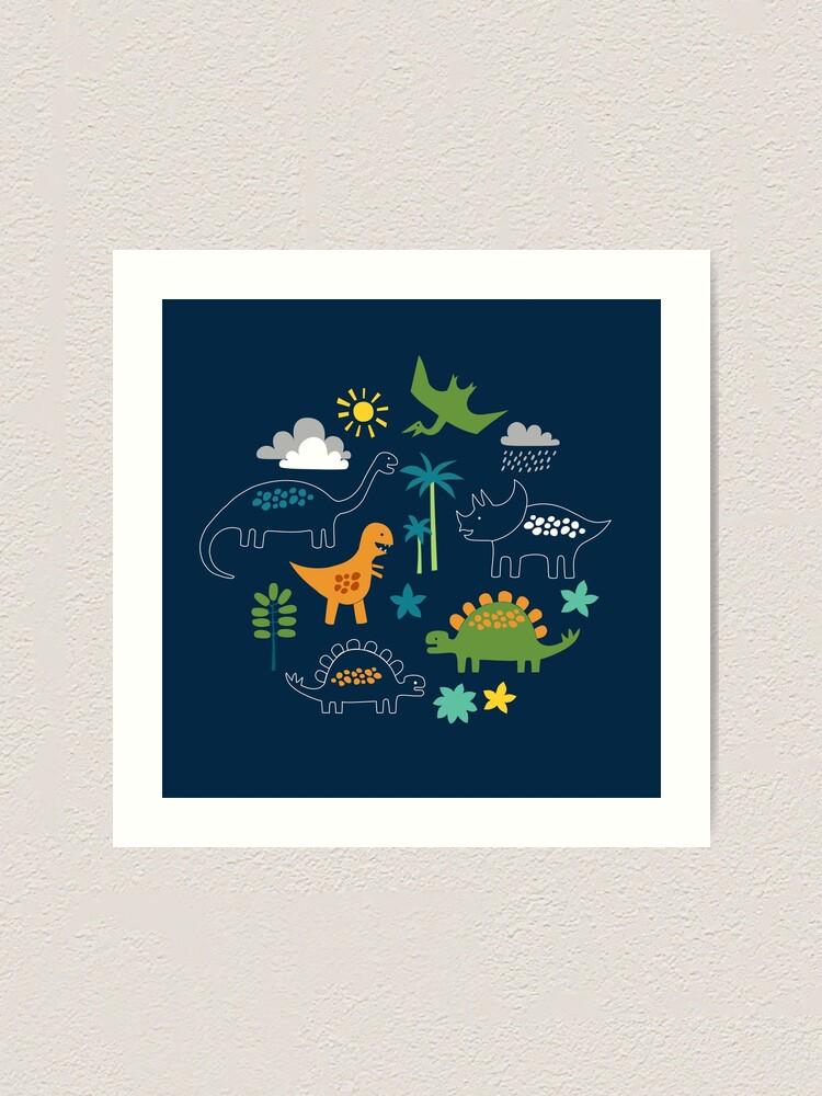 Alternate view of Dinosaur Land - cute Dino pattern by Cecca Designs Art Print
