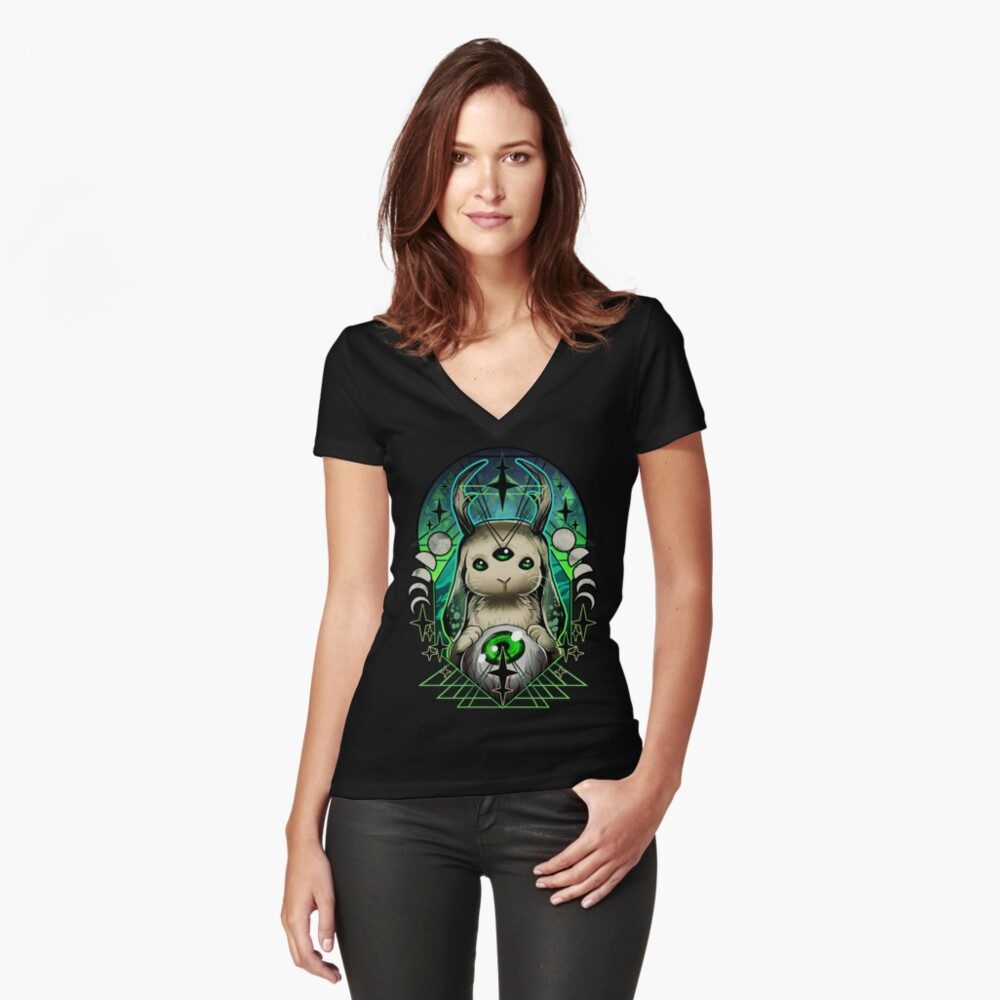 Space Bunny  Fitted V-Neck T-Shirt