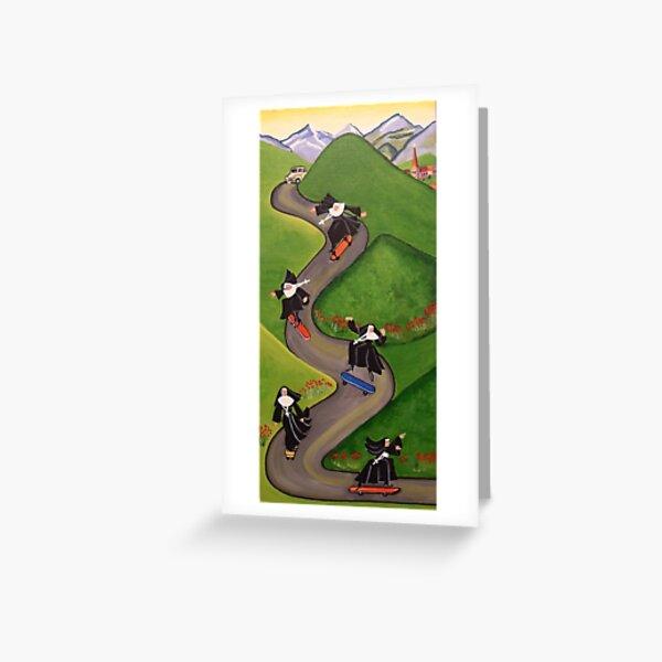 Skateboarding Nuns Greeting Card