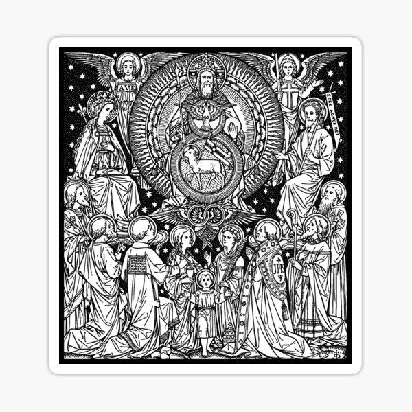 Holy Trinity 02 | Line Art | Black & White | Father Son Holy Spirit | Saints | Angels | Lamb | Dove Sticker