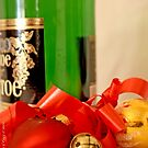 Wine bottle, red heart, jingle bell, gold ball and ribbon by pogomcl