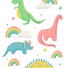Dinosaurs + Rainbows in Pink  by latheandquill