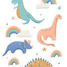 Dinosaurs + Rainbows by latheandquill