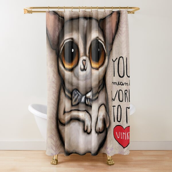 Little dog with big eyes chihuahua Shower Curtain