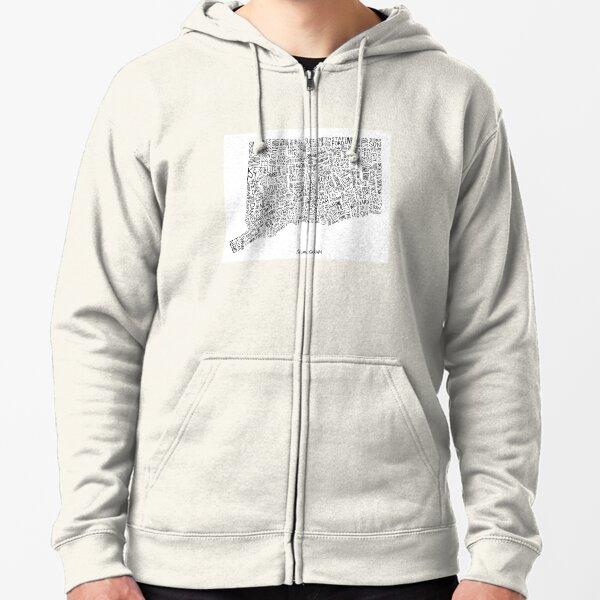 Zip Up Hoodie Connecticut Map Hooded Sweatshirt for Men