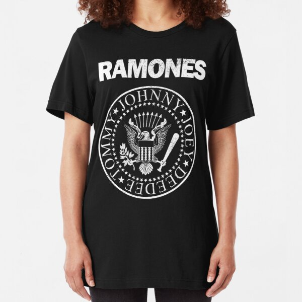 Ramones (white distressed design) Slim Fit T-Shirt