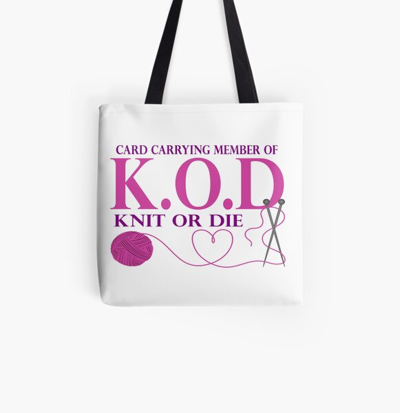 Knit Or Die All Over Print Tote Bag
